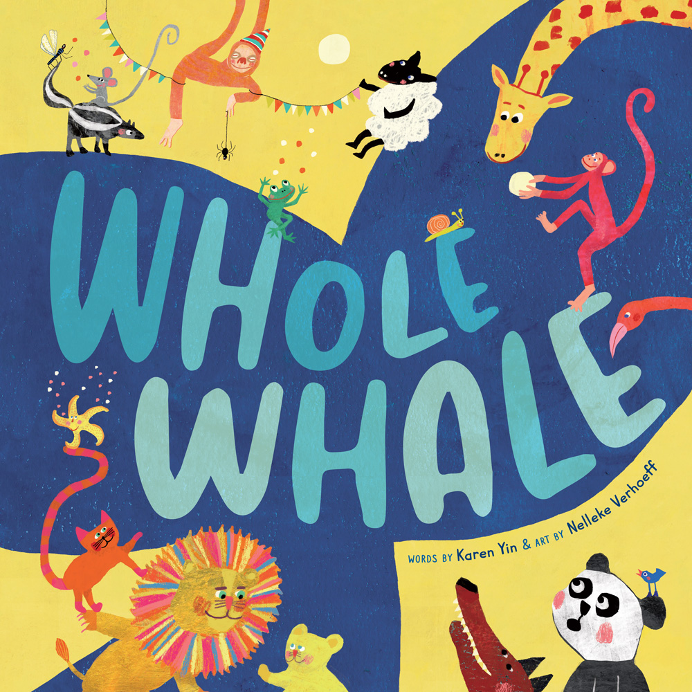 On this square book cover is the large tail of a blue whale on a mustard background. Various animals such as a panda, lion, sheep, and giraffe surround the tale, which has the title in fat, textured hand-drawn letters.