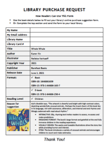 How readers can use this form (to make a purchase suggestion at their local library)